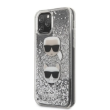 KARL LAGERFELD IPHONE 11 KARL AND CHOUPETTE GLITTER HÁTLAP, TOK, EZÜST
