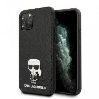 KARL LAGERFELD IPHONE 11 PRO MAX SAFFIANO ICONIK HÁTLAP, TOK, FEKETE