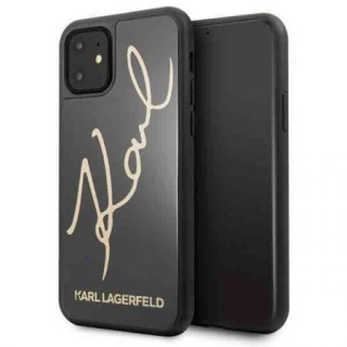KARL LAGERFELD IPHONE 11 PRO MAX HARD CASE GLITTER SIGNATURE HÁTLAP, TOK, FEKETE