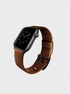 Uniq Mondain Apple Watch  bőr szíj sötétbarna 42/44 mm