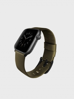 Uniq Mondain Apple Watch  bőr szíj Oliva 42/44 mm