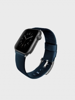Uniq Mondain Apple Watch  bőr szíj sötétkék 42/44 mm