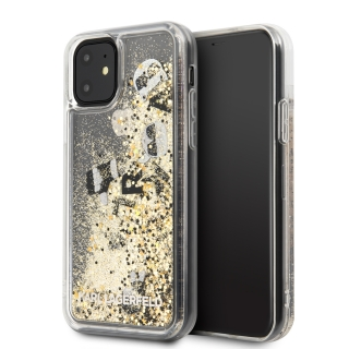 KARL LAGERFELD IPHONE 11 PRO FLOATING CHARMS LIQUID GLITTER ICONIC HÁTLAP, ARANY